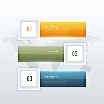 Plantilla de infografía con tres pasos