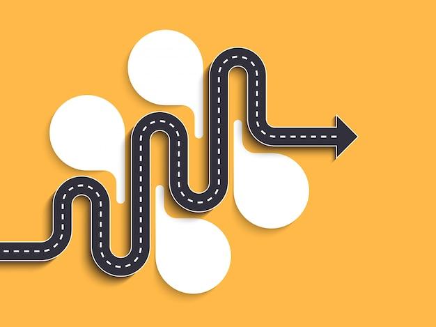 Plantilla de infografía de ubicación de camino con una estructura por fases. serpentina elegante en forma de flechas de línea