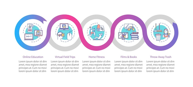 Plantilla de infografía de vector de actividad en el hogar de cuarentena. elementos de diseño de presentación de ocio y educación. visualización de datos con 5 pasos. gráfico de la línea de tiempo del proceso. diseño de flujo de trabajo con iconos lineales