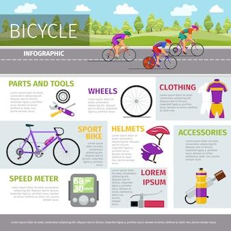 Plantilla de infografía de vector de bicicleta en estilo plano. actividad deportiva, carrera y uniforme, ilustración de casco y botella.