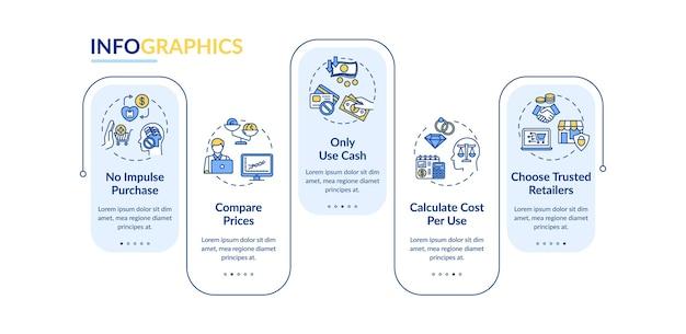 Plantilla de infografía de vector de consejos de gastador inteligente