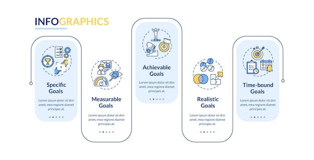 Plantilla de infografía de vector de definición de objetivos inteligentes