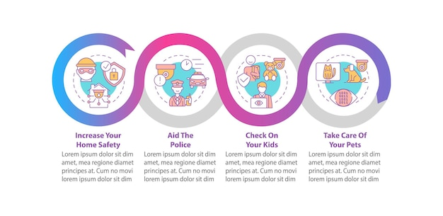 Plantilla de infografía de vector de seguridad en el hogar. elementos de diseño de esquema de presentación de protección familiar. visualización de datos en 4 pasos. gráfico de información de la línea de tiempo del proceso. diseño de flujo de trabajo con iconos de línea