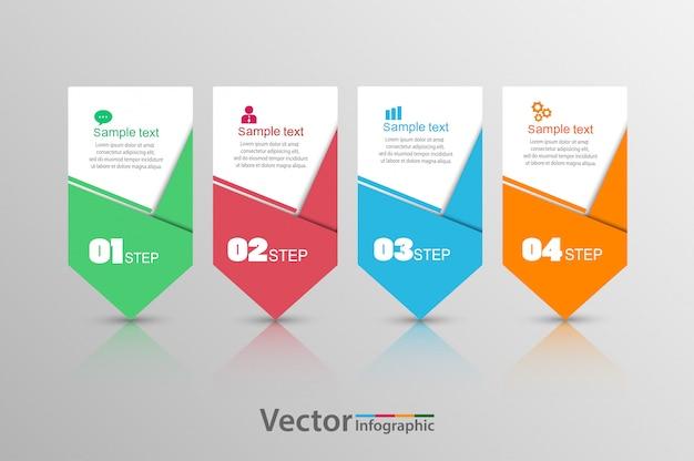 Plantilla de infografía vectorial con cuatro pasos