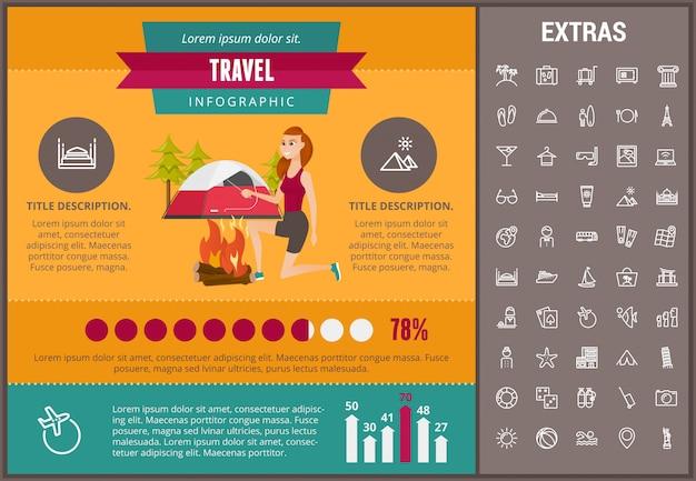 Plantilla de infografía de viajes, elementos e iconos