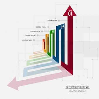 Plantilla de infografía vista en perspectiva
