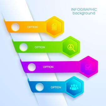 Plantilla de infografía web digital con iconos de negocios, cuatro cintas de colores y hexágonos