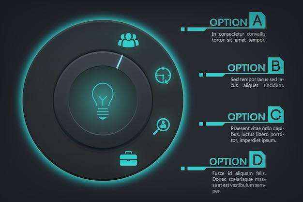 Plantilla de infografía web empresarial con cuatro pasos