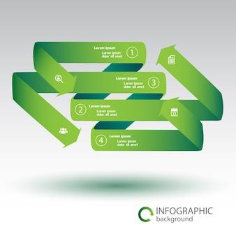 Plantilla de infografía web con flechas de cinta doblada verde cuatro opciones e iconos blancos aislados