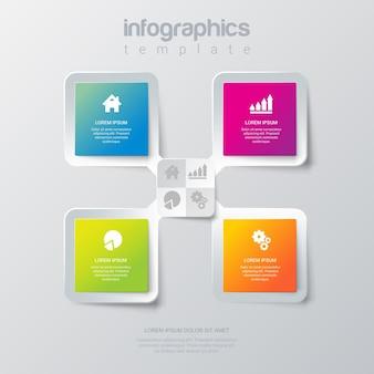 Plantilla de infografías 4 con estilo simple.