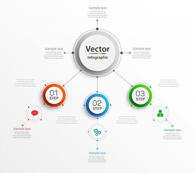 Plantilla de infografías abstractas con círculos de colores y 3 pasos