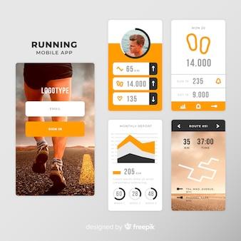 Plantilla de infografías de aplicación móvil de running