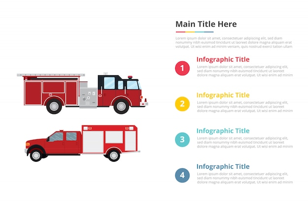 Plantilla de infografías de camión bombero con cuatro puntos