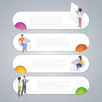 Plantilla de infografías de cinta arco iris paso a paso.