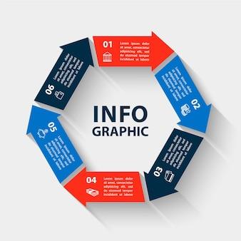 Plantilla de infografías de círculo de vector para presentación de gráfico de diagrama y concepto de negocio de gráfico