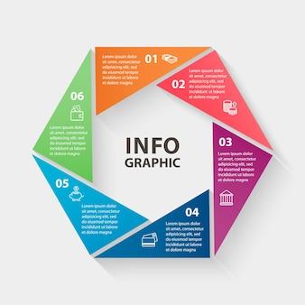 Plantilla de infografías de círculo vectorial para presentación y gráfico de diagrama