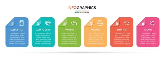 Plantilla para infografías de compras seis opciones o pasos con iconos y texto