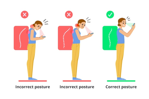 Plantilla de infografías de corrección de postura