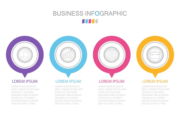 Plantilla de infografías con cuatro pasos u opciones.