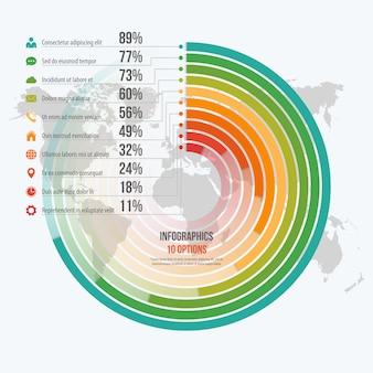Plantilla para infografías informativas circulares