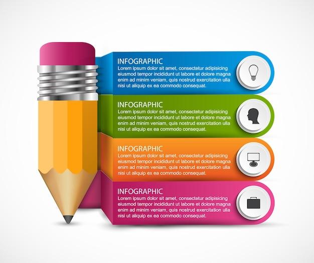 Plantilla de infografías con lápiz.