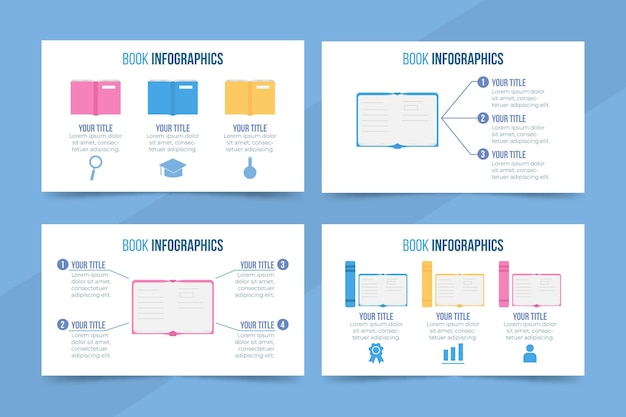 Plantilla de infografías de libro de diseño plano