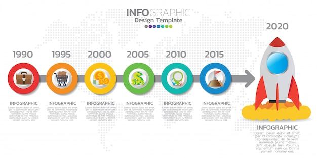 Plantilla de infografías de la línea de tiempo con flechas, diagrama de flujo, flujo de trabajo o proceso de infografía.