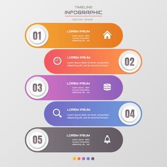 Plantilla de infografías de línea de tiempo con iconos