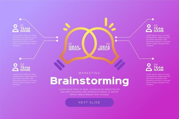 Plantilla de infografías de lluvia de ideas