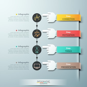 Plantilla de infografías de manos de equipo de negocios