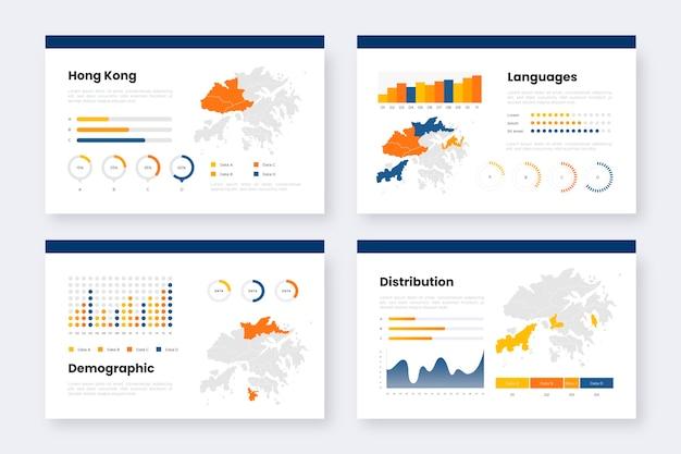 Plantilla de infografías de mapa de hong kong degradado