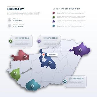 Plantilla de infografías de mapa de hungría degradado