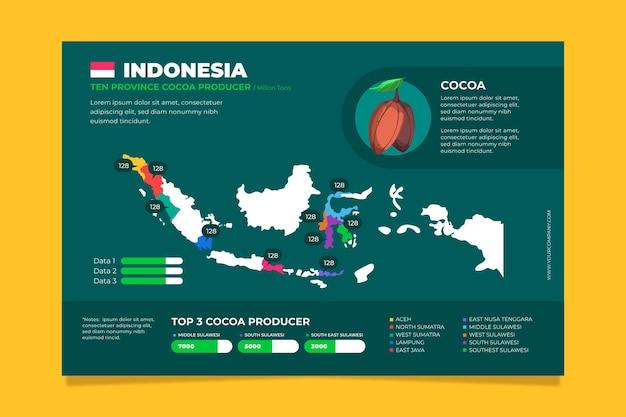 Plantilla de infografías de mapa de indonesia de diseño plano