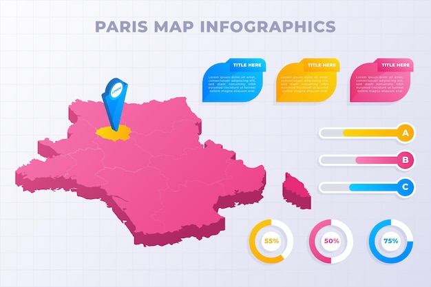 Plantilla de infografías de mapa isométrico de parís