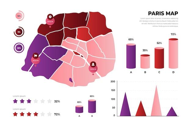 Plantilla de infografías de mapa de parís degradado