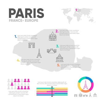 Plantilla de infografías de mapa plano de parís