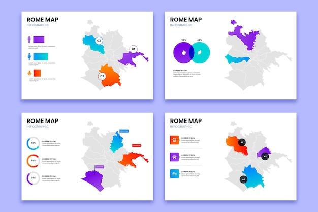Plantilla de infografías de mapa de roma degradado