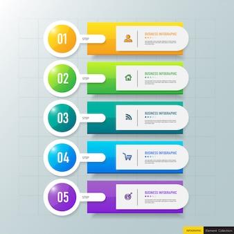 Plantilla de infografías de negocios con 5 pasos