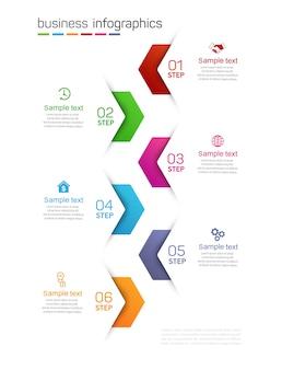 Plantilla de infografías de negocios con 6 opciones, pasos o procesos.