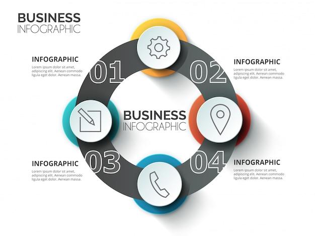 Plantilla de infografías de negocios de círculo elegante historia mapa mental. colección de conceptos de fondo de infografía del sitio web.