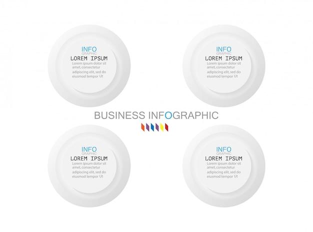 Plantilla de infografías de negocios: el concepto es un paso de círculo 4 opción a todo color.