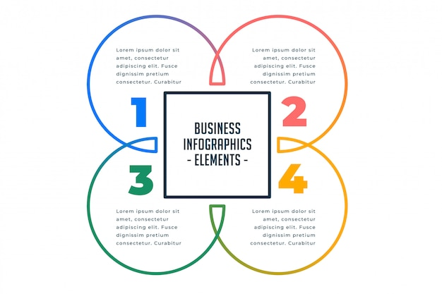 Plantilla de infografías de negocios de cuatro pasos