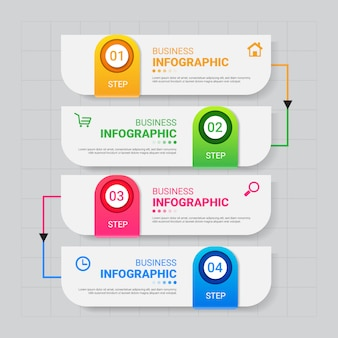 Plantilla de infografías de negocios con cuatro pasos