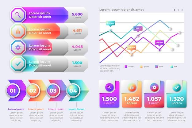 Plantilla de infografías de negocios degradado