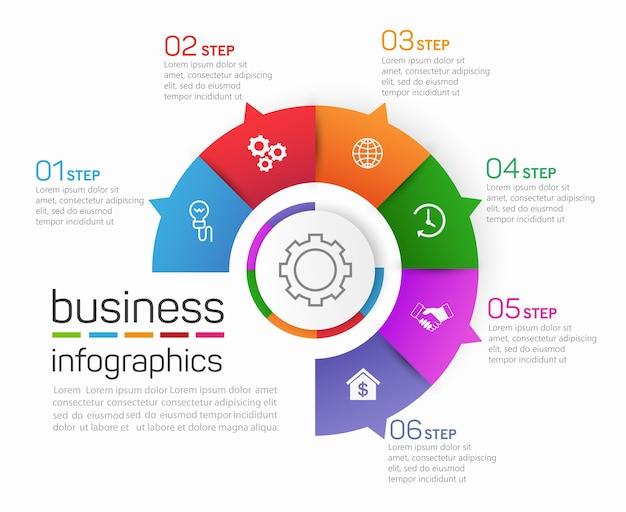 Plantilla de infografías de negocios en forma de círculo con 6 pasos