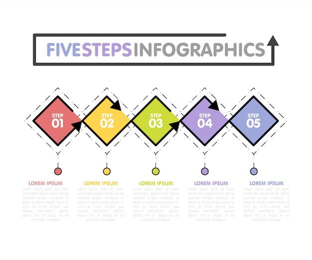 Plantilla de infografías de negocios. línea de tiempo con 5 rombos, pasos, cinco opciones de números. vector