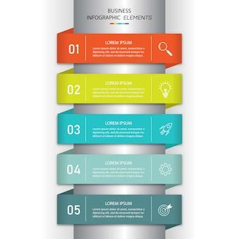Plantilla de infografías de negocios de presentación con 5 opciones.