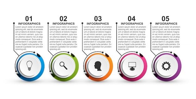 Plantilla de infografías de opciones abstractas para presentaciones.