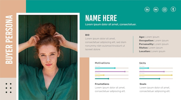 Plantilla de infografías de persona de comprador con foto