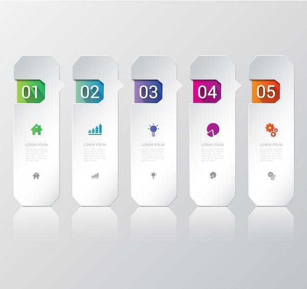 Plantilla de infografías de proceso de pasos multicolores